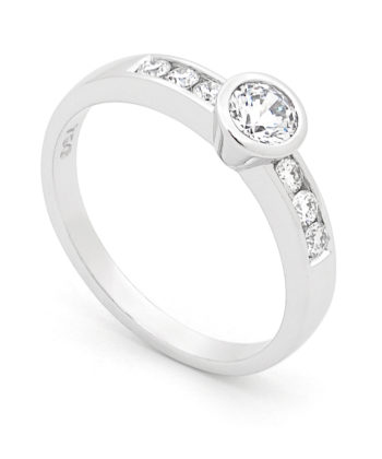 Diamond Set Engagement Ring in 18ct White Gold