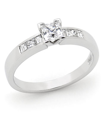 Diamond Set 4 Claw Engagement Ring in 18ct White Gold