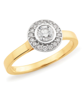 Diamond Set Halo Engagement Ring in 18ct Yellow & White Gold