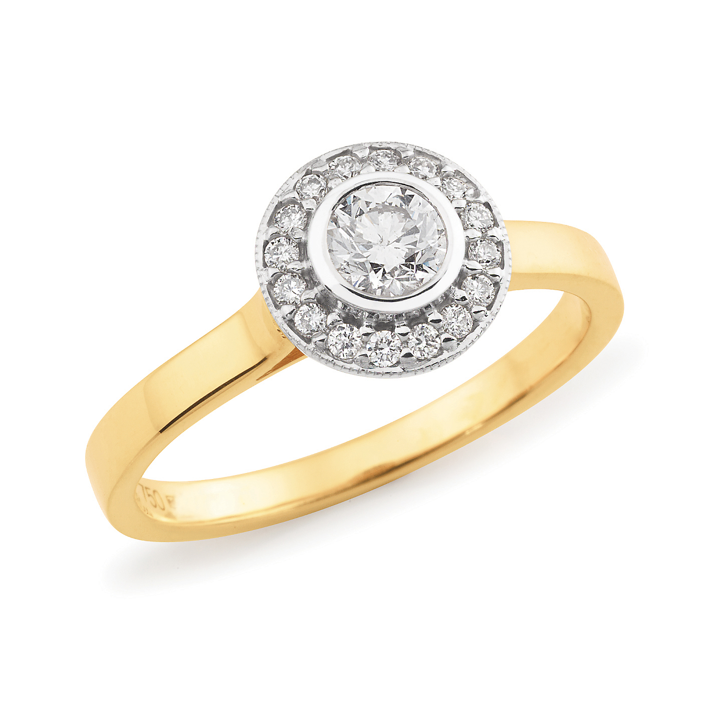 Diamond Set Halo Engagement Ring In 18ct Yellow White Gold Shop Kim Bartlett Master Jewellers Townsville Jeweller