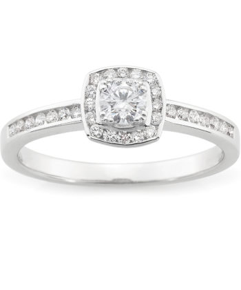 Diamond Set Halo Engagement Ring in 18ct White Gold