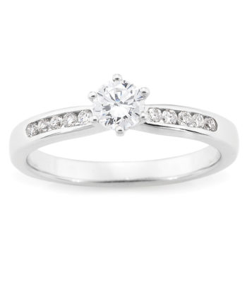 Diamond Set 6 Claw Engagement Ring in 18ct White Gold