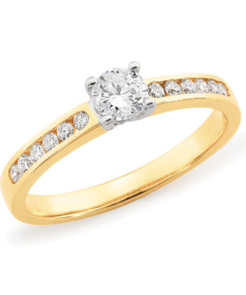 Diamond Set 4 Claw Engagement Ring in 18ct Yellow & White Gold