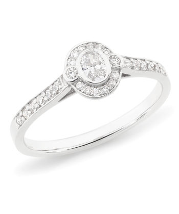 Diamond Set Halo-Style Engagement Ring in 18ct White Gold