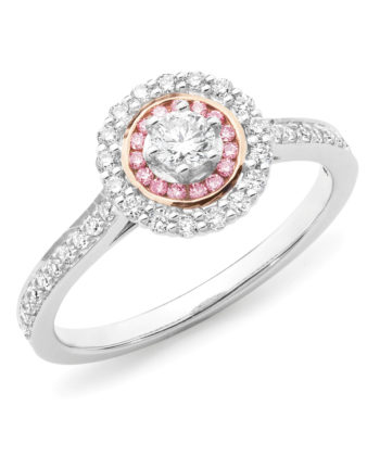 Pink Diamond Set Cluster Engagement Ring in 18ct White & Rose Gold