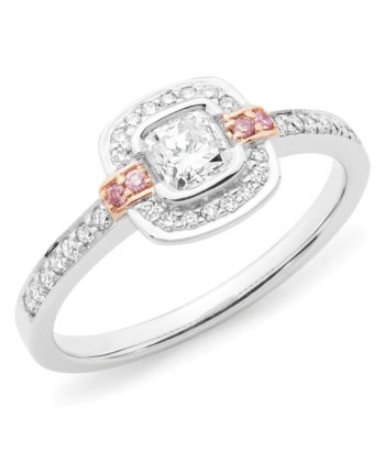 Pink Diamond Set Halo Engagement Ring in 18ct White & Rose Gold