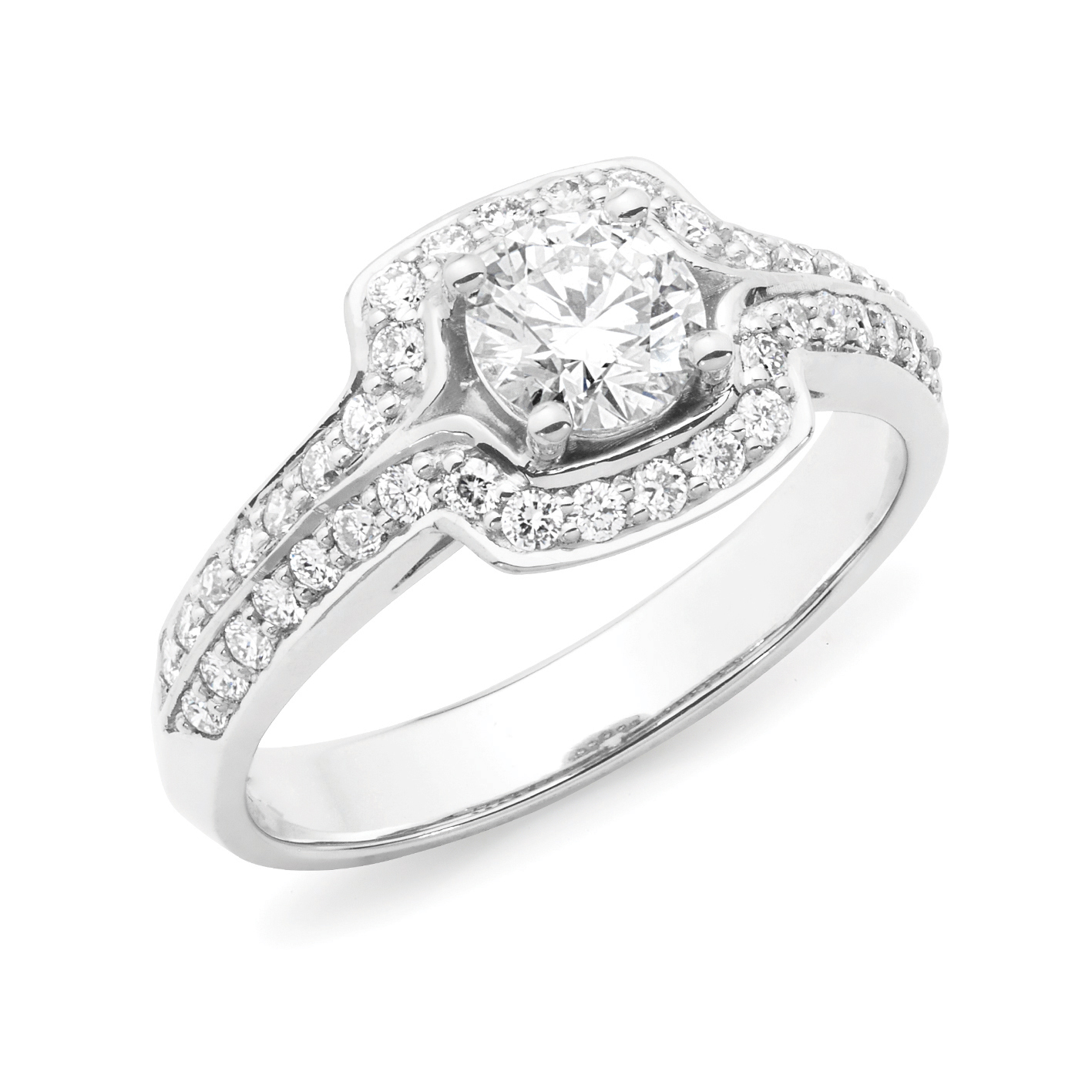 Diamond Set Halo Style Engagement Ring In 18ct White Gold Shop