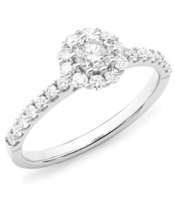 Diamond Set Cluster Engagement Ring in 18ct White Gold
