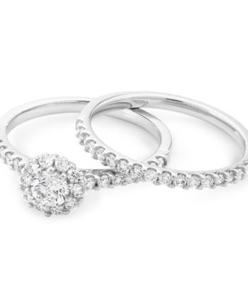 Diamond Set Engagement & Wedding Ring in 18ct White Gold