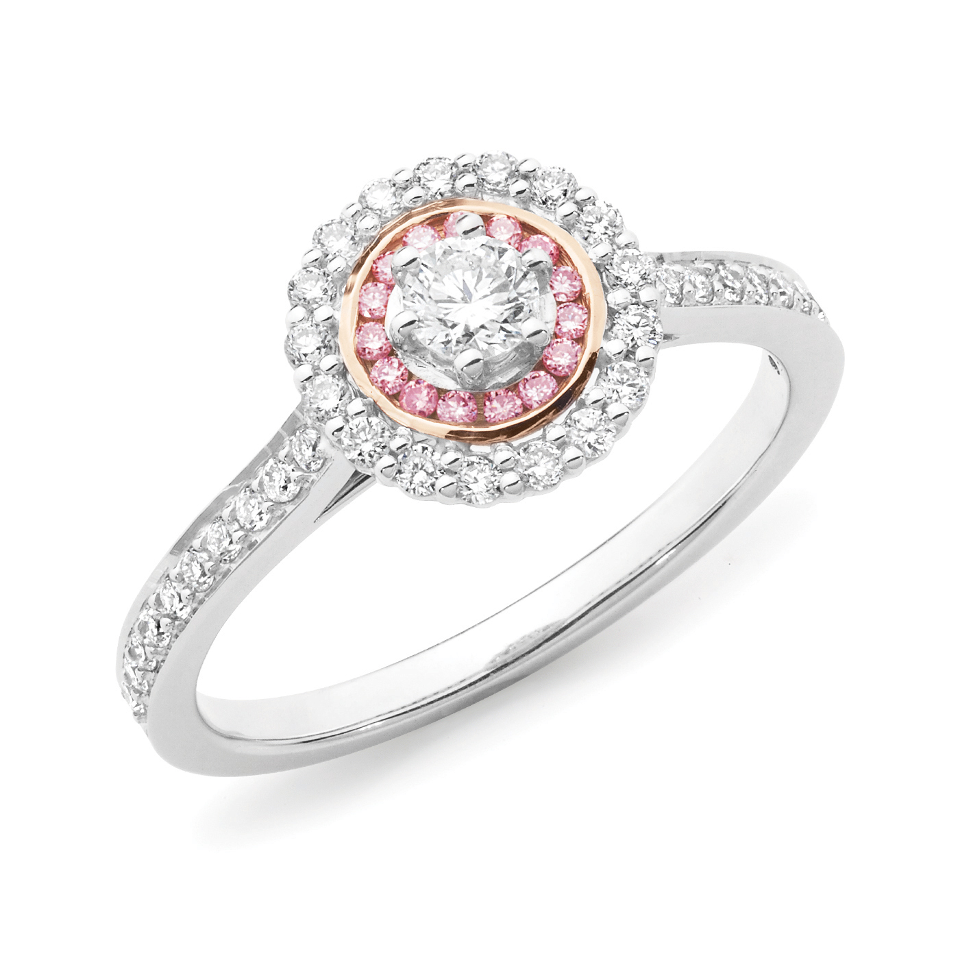 rose gold rings white product wedding ring diamond in engagement set cluster pink